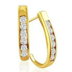 Vipul,Surat Tex,Avsar,Kaamastra,Lime,Kalazone Diamond Jewellery - Hoop Of Life 14k Gold Diamond Earrings