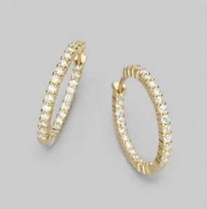 Jagdamba,Avsar,Lime,Valentine,Pick Pocket Women's Clothing - Hoop Of Life 14k Gold Diamond Earrings