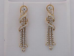 2.50 Ct Diamond Yellow Gold Earrings Inte021
