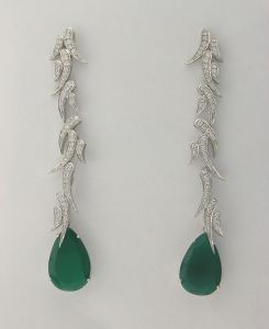 21.55 Ct Diamond Emerald White Gold Earrings