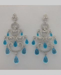 Diamond Aquamarine White Gold Earrings Inte028