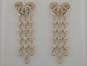 2.85 Ct Diamond Yellow Gold Earrings Inte030