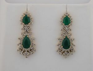 Diamond Emerald Yellow Gold Earrings Inte031