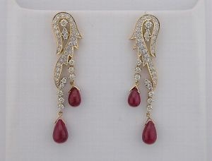 Diamond Ruby Yellow Gold Earrings Inte039