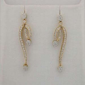 Lime,Surat Tex,Soie,Avsar Women's Clothing - 1.40 CT Diamond Yellow Gold Earrings INTE044