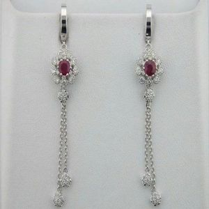 Diamond Ruby White Gold Earrings Inte051