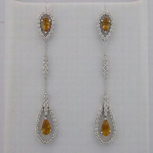 19.65 Ct Diamond Citrine White Gold Earrings