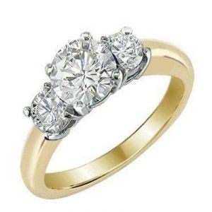1.04ct Three Stone 14k Gold Diamond Ring