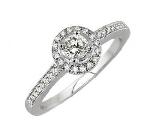 0.37 Ct Engagement 14k Gold Diamond Rings Intr0075
