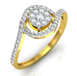 Avsar Real Gold And Swarovski Stone Kokan Ring Intr036yb