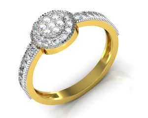 Vipul,Tng,Sangini,Clovia,Shonaya,Avsar,Surat Diamonds,Parineeta,Sinina Precious Jewellery - Avsar Real Gold and Diamond Puneri Ring INTR074A