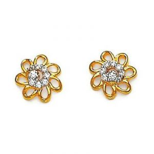 Ag American Diamond Flower Shape Earring Kie0004