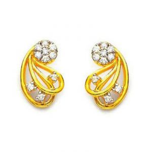 Ag American Diamond Flower Shape Earring Kie0008