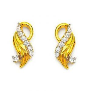 Ag American Diamond Leave Shape Earring Kie0009