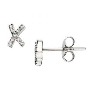 Ag American Diamond Fancy X Shape Earring Kie0015