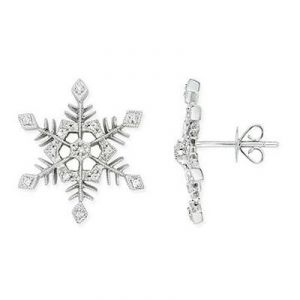 Ag American Diamond Snow Flakes Earring Kie0016