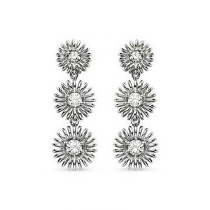 Ag American Diamond Flower Shape Earring Kie0018