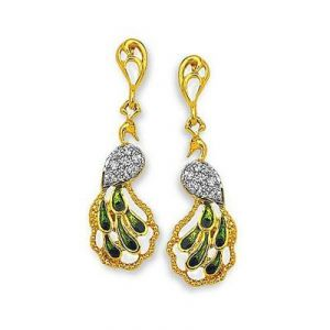 Ag American Diamond Peacock Shape Earring Kie0031