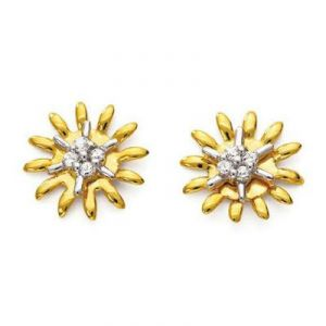 Ag American Diamond Flower Shape Earring Kie0035
