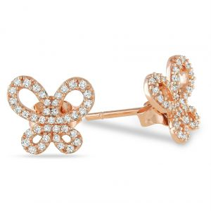avsar,hoop,Valentine,Kiara Earrings (Imititation) - Kiara Pink Gold Plated FlowerShape Earring KIE0090