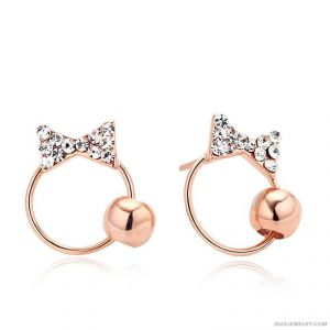 Kiara Pink Gold Plated Bow Shape Earring Kie0091