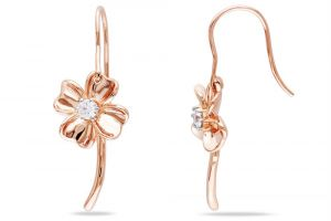 Kiara Pink Gold Plated Flower Earring Kie0110