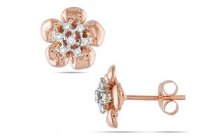 Asmi,Kiara Women's Clothing - Kiara Pink Gold Plated Flower Earring KIE0114