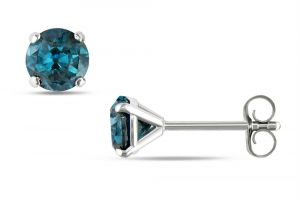 kiara,port,surat tex,la intimo Earrings (Imititation) - Kiara White Gold Plated Blue Stone Earring KIE0116