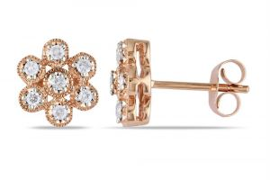 kiara,surat tex,la intimo,asmi Earrings (Imititation) - Kiara Pink Gold Plated Traditional Earring KIE0117
