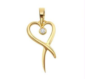 Pendants - KIARA SOLITAIRE HEART SHAPE AMERICAN DIAMOND PENDA