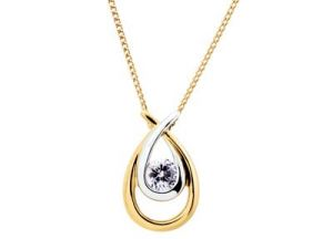Diamond Pendants, Sets - KIARA PEARL SHAPE AMERICAN DIAMOND PENDANT KIP0135
