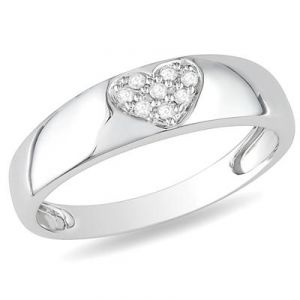 Ag American Diamond Simple Heart Look Ring Kir0033
