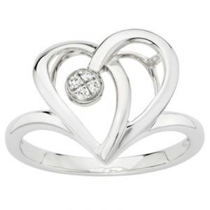 Ag American Diamond Romantic Heart Ring Kir0038