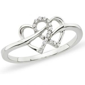 Ag American Diamond Heart Shape Ring Kir0040