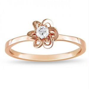 Kiara Pink Gold Plated Flower Shape Ring Kir0140