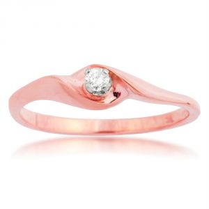Kiara Pink Gold Plated Solitiare Ring Kir0148