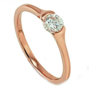 Kiara Pink Gold Plated Solitiare Shapering Kir0155
