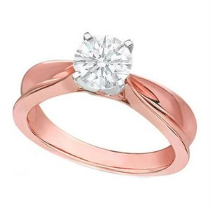 Kiara Pink Gold Plated Solitiare Ring Kir0156