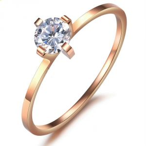 Kiara Pink Gold Plated Solitiare Ring Kir0165