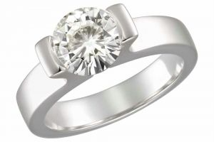 Kiara Solitiare Ad White Gold Plated Ring Kir0170