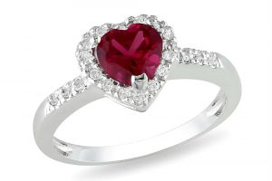 Kiara Heart Shape Red Stone Ad Ring Kir0173