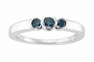 Kiara White Gold Plated Blue Stone Ring Kir0177