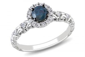 Kiara White Gold Plated Blue Stone Ad Ring Kir0178