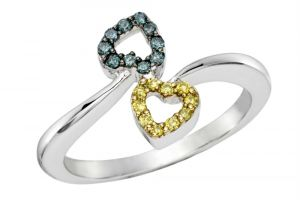 Kiara White Gold Plated Two Heart Ad Ring Kir0187