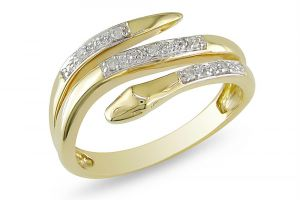 Kiara Yellow Gold Plated Snake Shape Ring Kir0189