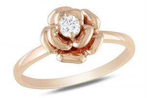Kiara Pink Gold Plated Flower Shape Ring Kir0203