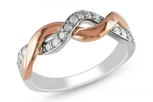 Kiara White & Pink Gold Plated Ad Ring Kir0204