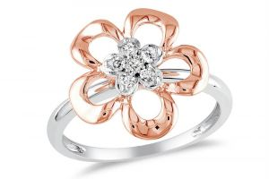 Kiara White & Pink Gold Plated Flower Ring Kir0205