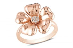Kiara Pink Gold Plated Flower Shape Ring Kir0215