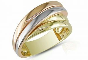Kiara White ,yellow & Pink Goldplated Ring Kir0222